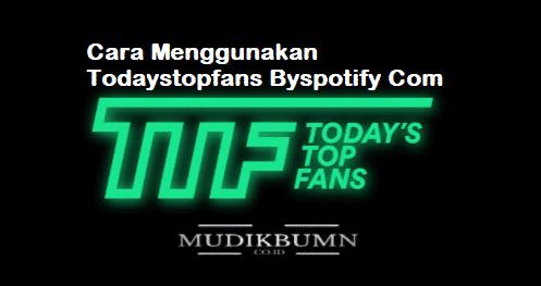 cara menggunakan todaystopfans byspotify com